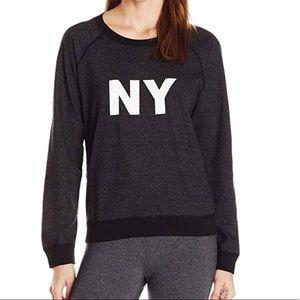 MONROW Heathered Black Raglan New York Sweatshirt